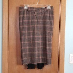 L.A.M.B Glen Plaid Wool Pencil Skirt sz 4